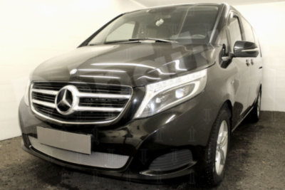 Защита радиатора для Mercedes-Benz V-Klass II 2014- chrome PREMIUM. Артикул MBV14.PREMIUM.chrome