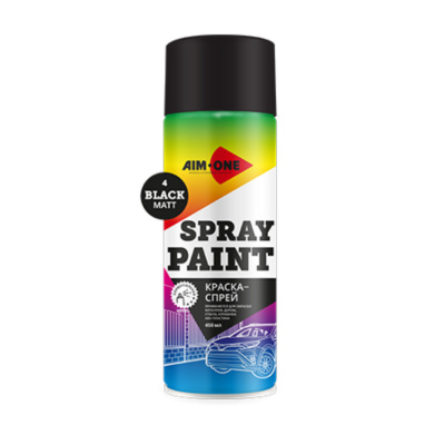 Краска-спрей черная матовая AIM-ONE 450 мл (аэрозоль).Spray paint black matt 450ML SP-MB4