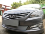 Защита радиатора Hyundai Solaris 2014-2017 chrome